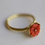 Korallblüte Ring gelbgold 18 Karat